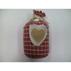 DOORSTOPPER IN THE SHAPE OF A SACK WITH A HEART OF JUTE