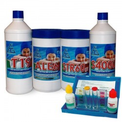 "KIT ""4 ALL"" PER ACQUA PISCINA ANTIALGA, CLORO,CORRETTORE PH, CLORO 6 AZIONI"