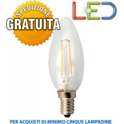 LAMPADINA LED A CANDELA A FILAMENTO E14 4W 2700k
