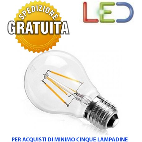 LAMPADINA LED A FILAMENTO SFERA E27 6W 2700K