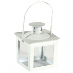 LANTERN METAL WHITE CM.6X6H9 CANDLE HOLDER WEDDING FAVOR
