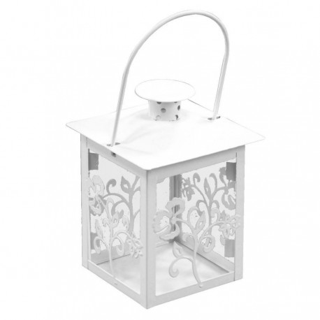 LANTERN CANDLE HOLDER METAL DECORATED LEAVES, WHITE CM.10X10H14
