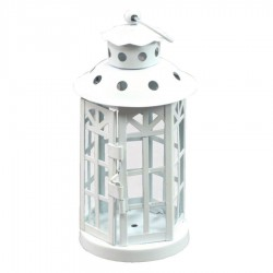 LANTERN CANDLE HOLDER METAL HEXAGONAL WHITE CM.10XH18