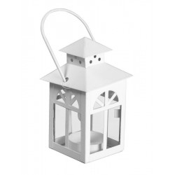 LANTERN CANDLE HOLDER METAL ARCHED WINDOWS, WHITE CM.7,5X7,5H12,5
