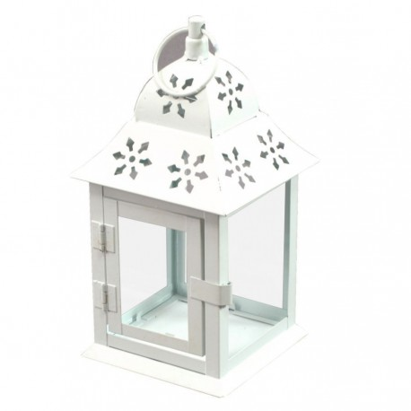 LANTERN CANDLE HOLDER TEA LIGHT WHITE METAL FLOWER DECORATED CM.12X12H22,5