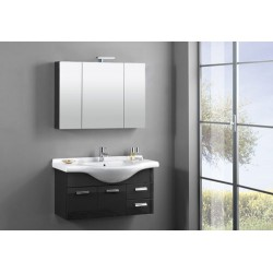 MOBILE FULL BATHROOM CM.105 SUSPENDED GREY LACQUERED BASE+MIRROR+LIGHT
