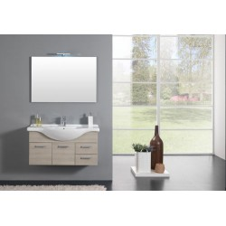 MOBILE FULL BATHROOM CM.105 SUSPENDED LARCH BASIC + MIRROR + WALL