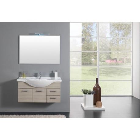Mobile bagno completo sospeso larice base - Applique bagno specchio ...