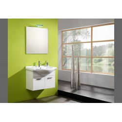MOBILE FULL BATHROOM CM.75 OUTSTANDING LACQUERED WHITE BASE + MIRROR + APPLIQUE