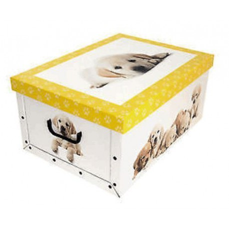 BOX CARTON LAUNDRY BAG SATCHEL CM.50X40X25H PUPPIES DOG VARIOUS COLOURS
