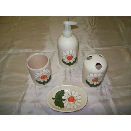 BATHROOM SET 4 PIECES CERAMIC-LIKE THUN