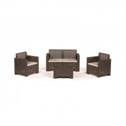 LIVING ROOM SET EFFECT RATTAN CHOCO 1 SOFA 2 ARMCHAIRS 1 GARDEN TABLE