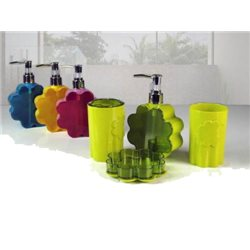 BATHROOM SET 4 PIECES COLORED IN 4 COLORS, FUCHSIA OR YELLOW OR GREEN OR BLUE