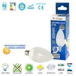 LED light BULB, V-Tac E14 6W LAMP CANDLE LIGHT-WARM-NATURAL-COOL