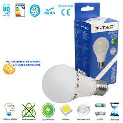 LAMPADINA LED V-Tac E27 10W LAMPADA SFERA LUCE CALDA - NATURALE - FREDDA