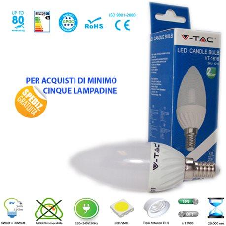 LED light BULB, V-Tac E14 4W LAMP CANDLE LIGHT-WARM - NATURAL - COOL
