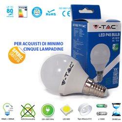 LAMPADINA LED V-Tac E14 4W SFERA LUCE CALDA - NATURALE - FREDDA