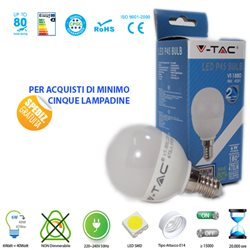 LED light BULB, V-Tac E14 6W BALL LIGHT-WARM - NATURAL - COOL