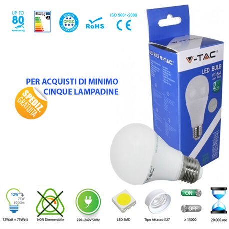 LED light BULB, V-Tac E27 12W LIGHT LAMP WARM - NATURAL - COOL