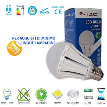 LED light BULB, V-Tac E27 20W LAMP LIGHT-WARM-NATURAL-COOL