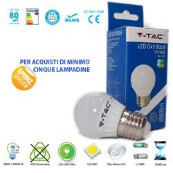 LAMPADINA LED V-Tac E27 4W SFERA LUCE CALDA - NATURALE - FREDDA