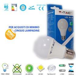 LAMPADINA LED V-Tac E27 5W LAMPADA LUCE CALDA - NATURALE - FREDDA