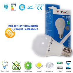 LED light BULB, V-Tac E27 5W LIGHT LAMP WARM - NATURAL - COOL