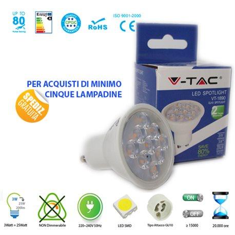 LAMPADINA LED V-Tac GU10 3W LAMPADA SPOT FARETTO