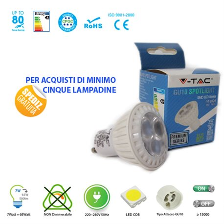 LED light BULB, V-Tac VT-2828 GU10 7W LAMP SPOT SPOTLIGHT