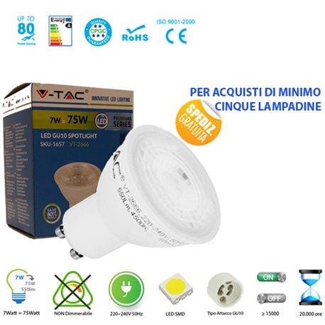 LAMPADINA LED V-Tac VT-2666 GU10 7W LAMPADA SPOT FARETTO