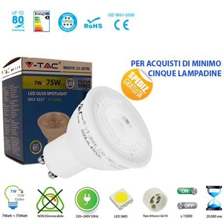 LED light BULB, V-Tac VT-2666 GU10 7W LAMP SPOT SPOTLIGHT