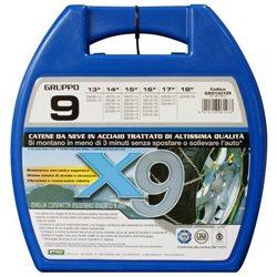 """CATENE DA NEVE OMOLOGATE MONTAGGIO RAPIDO CORA X9 9mm. GRUPPO 9 CERCHIO 13"""" 14"""" 15"""" 16"""" 17"""" 18"""""""