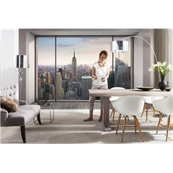 POSTER MURALE CM.366X254H FINESTRA CON VISTA PENTHOUSE NEW YORK