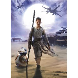 POSTER FOTOMURALE THE ORIGINAL STAR WARS WALLPAPER STAR WARS REY