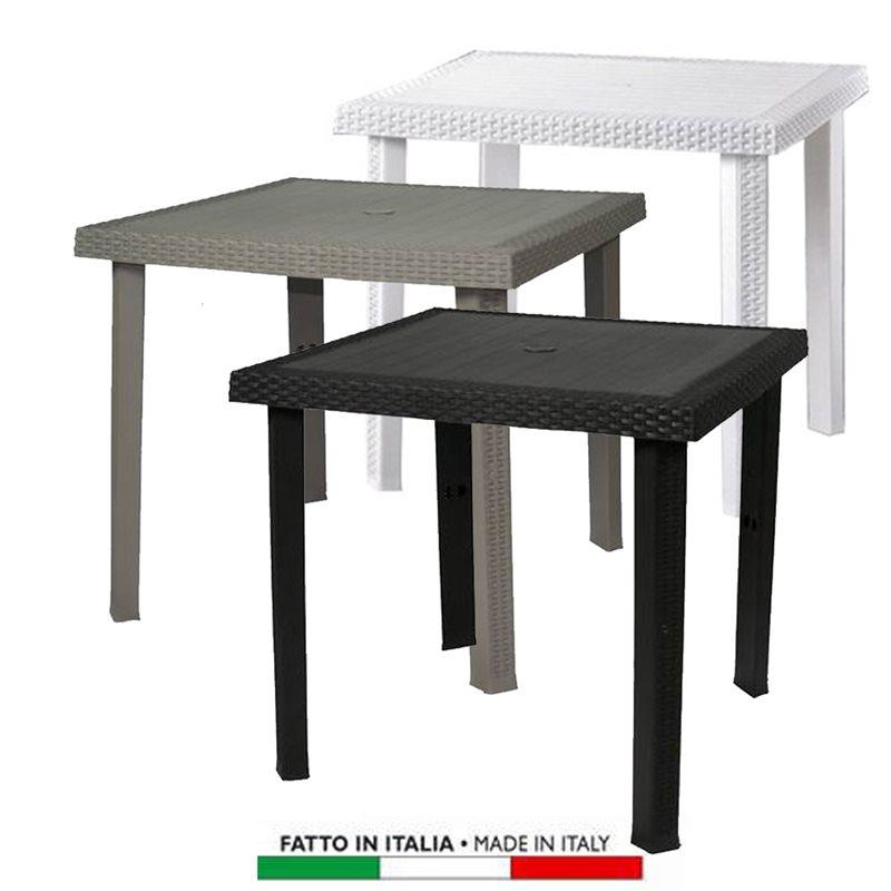 Tavolo Giardino Plastica Bianco.Tavolo Figaro Rattan Quadrato 80x80 Colori Bianco Caffe Tortora