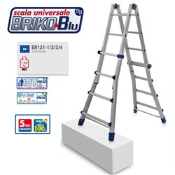 ALUMINIUM LADDER FACAL BRIKO BLUE BB2 4+4 STEPS