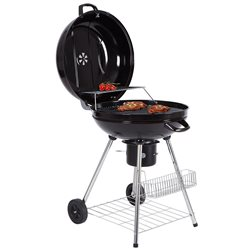 BBQ CHARCOAL STAINLESS STEEL ROUND WITH WHEELS AND LID PORTABLE BBQ