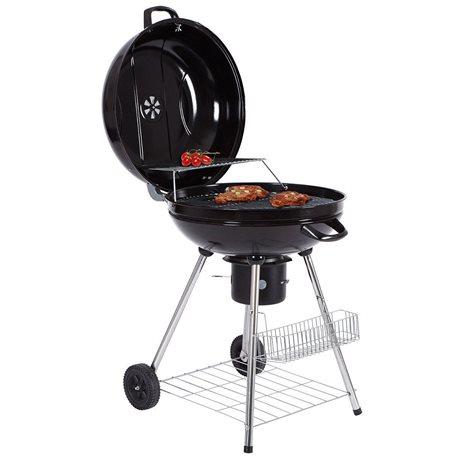 Barbecue a carbonella in acciaio rotondo con ruote e coperchio portatile bbq edilacilia - Barbecue portatile a carbonella ...