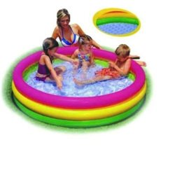INTEX 57412 - INFLATABLE SWIMMING POOL, INFLATABLE ROUND 3 RING FOR CHILDREN Ø CM.114X25H