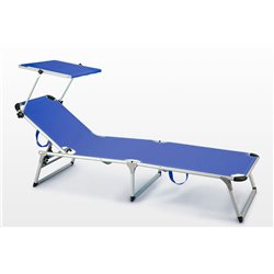 BED SEASIDE FOLDING RHODES BLUE ALUMINUM SUN ITALY LUXURY
