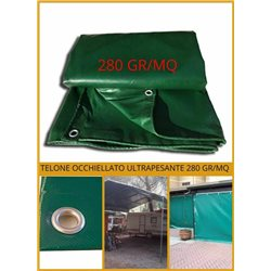 TARPAULIN SHEET WITH REINFORCING EYELETS IN PVC 280 GR/SQM WATERPROOF ULTRA-RESISTANT