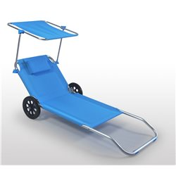 COT BY THE SEA WITH WHEELS CANOPY BEACH CHAIR SPIAGGINA DECK CHAIR ALUMINUM BLUE