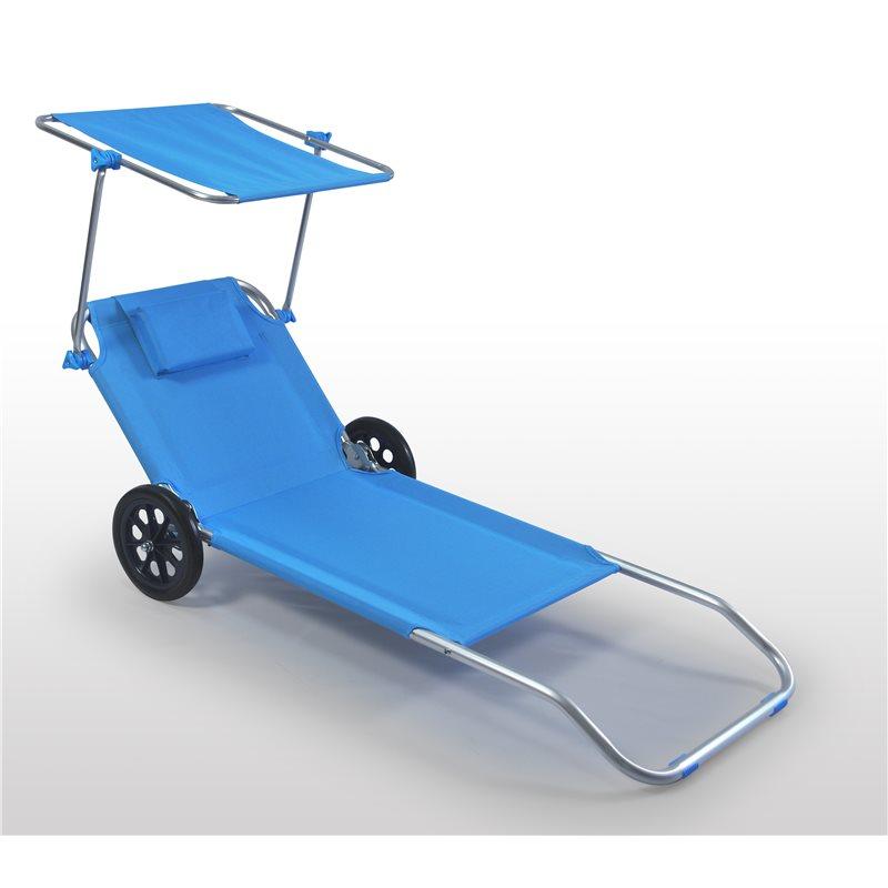 Vendita Sdraio Da Spiaggia.Lettino Da Mare Con Ruote Tettuccio Spiaggina Sdraio Alluminio Blu
