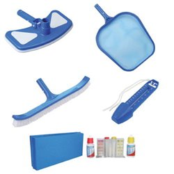 MAINTENANCE KIT FOR SWIMMING POOL DOMUS BROOM + BRUSH + SCREEN + THERMOMETER + TEST KIT