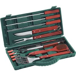 CUTLERY SET IN CARRYING CASE BBQ, STAINLESS STEEL/WOOD PCS 12 CM 40