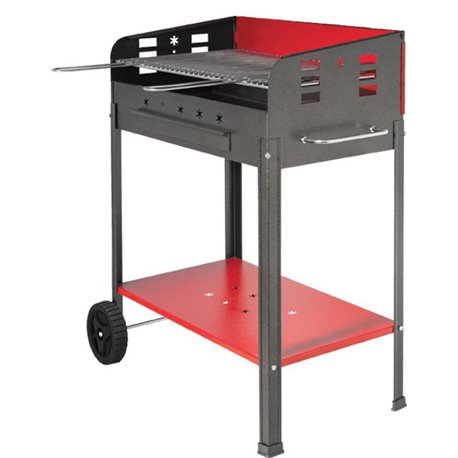 BARBECUE CHARCOAL STAR WITH CASTORS CM 60 X 40 H. CM 90