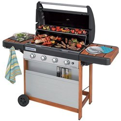 BARBECUE GAS 4 SERIES WOODY L CAMPINGAZ FUOCHI 4 CM 115X64 H.CM 141 CON COPRI BARBECUE