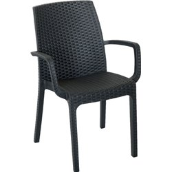 CHAIR RATTAN of INDIAN WITH ARMS BICA PP ANTHRACITE CM 57X59 H. CM 86