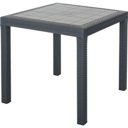 RATTAN TABLE DALLAS BICA PP ANTHRACITE CM 80X80 H. 75 CM