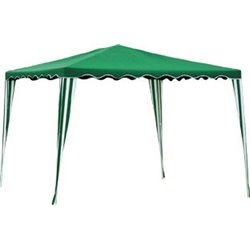GAZEBO STANDARD POLY DOMUS STAINLESS STEEL/WHITE GREEN MT 3X3